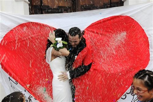 uscita degli sposi - matrimonio in verde