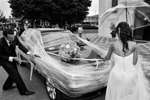allestimento macchina - matrimonio in verde