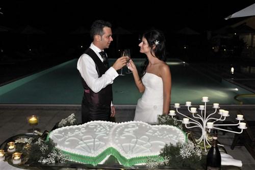 torta e sposi con dettagli in verde - matrimonio in verde