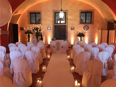 allestimento location per cerimonia per matrimonio tema carnevale veneziano