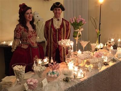 allestimento confettata per matrimonio tema carnevale veneziano