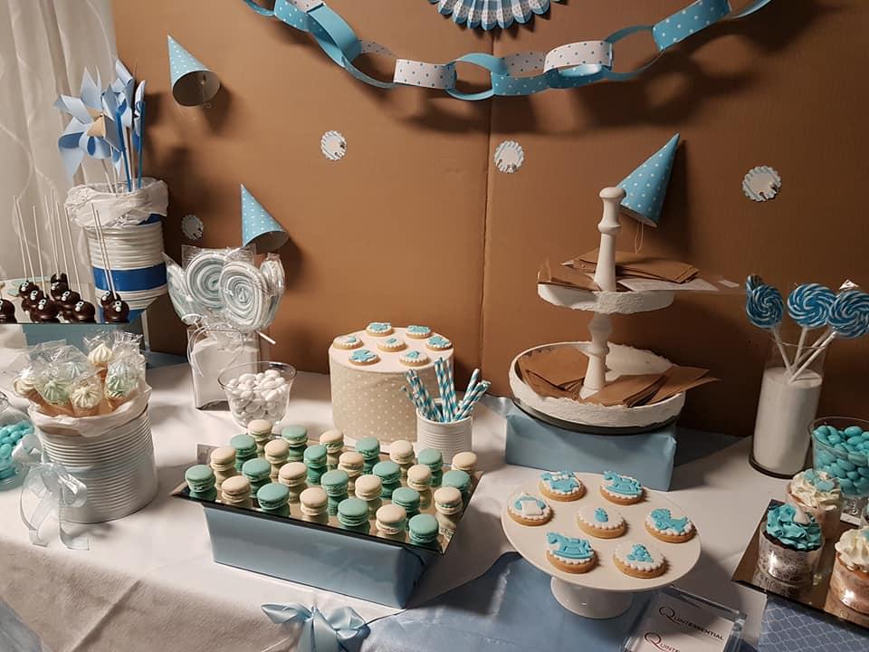 battesimo azzurro - allestimento banchetto dolci