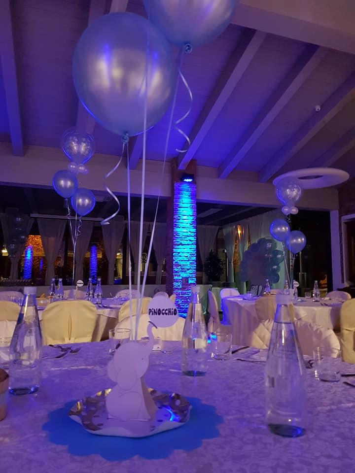 battesimo azzurro - allestimento location e tavoli