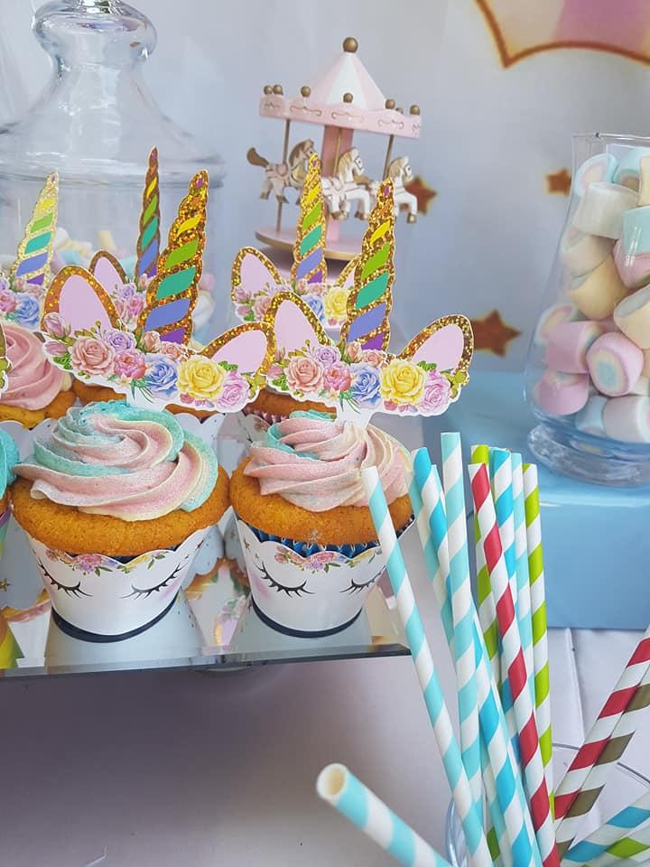 battesimo bimba a tema unicorn - cupcake